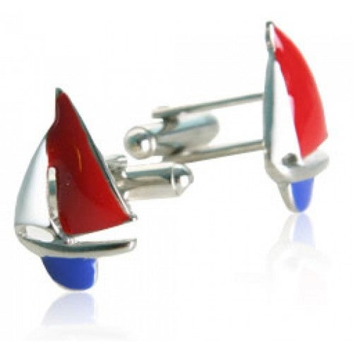 Red, White, and Blue Sailboat Sailing Sport Ocean Sea Cufflinks