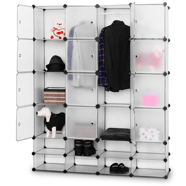 Costway Diy 16 8 Cube Portable Clothes Wardrobe Cabinet Closet Storage Organizer W Doors