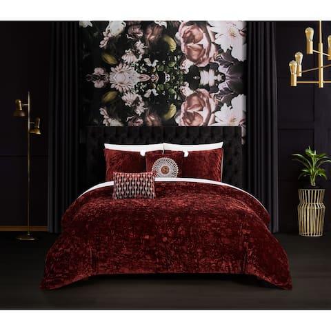 Chic Home Kiana 9 Piece Textured Crinkle Velvet Design Comforter Set, Burgundy