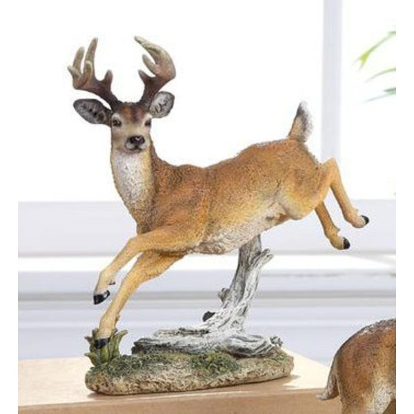 "7.5"" Woodland Inspired Leaping Reindeer Christmas Figure"