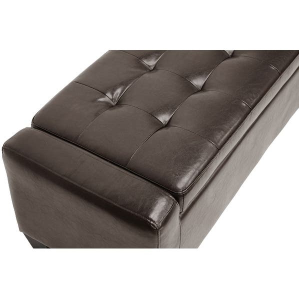 Brilliant Shop Manchester Tufted Dark Brown Bonded Leather Ottoman Caraccident5 Cool Chair Designs And Ideas Caraccident5Info