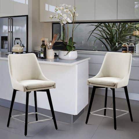Furniture R Mid-century Modern Wood Counter Bar Stool (Set of 2)