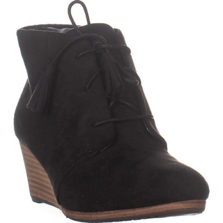 Dr. Scholl's Dakota Wedge Lace Up Ankle Booties, Black