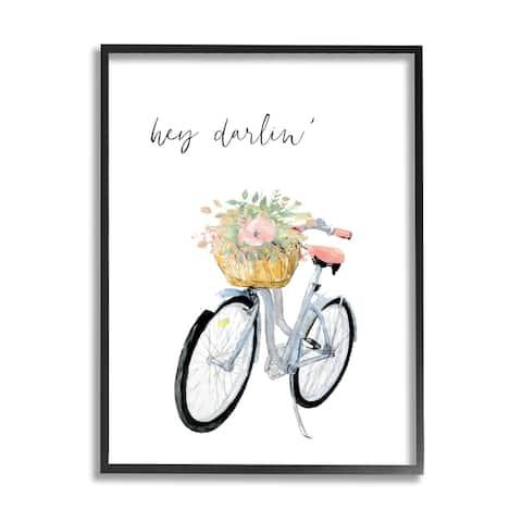 Stupell Industries Hey Darlin' Phrase Blue Handlebar Bicycle Floral Basket Framed Wall Art - Pink