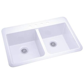 """Sterling 1042-4 Slope 33"""" Double Basin Drop In or Undermount Acrylic Kitchen Sin"""