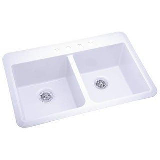 """Sterling 1042-4 Slope 33"""" Double Basin Drop In or Undermount Acrylic Kitchen Sin - White"""