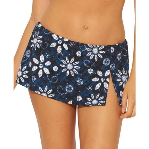 Bleu Rod Beattie Womens Floral Skirt Swim Bottom Separates - Navy