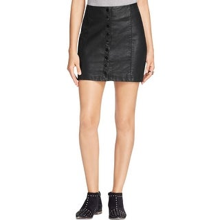 Free People Womens Mini Skirt Faux Leather Snap Button
