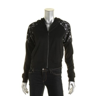 Guess Womens Lace Trim Zip Front Hoodie - S