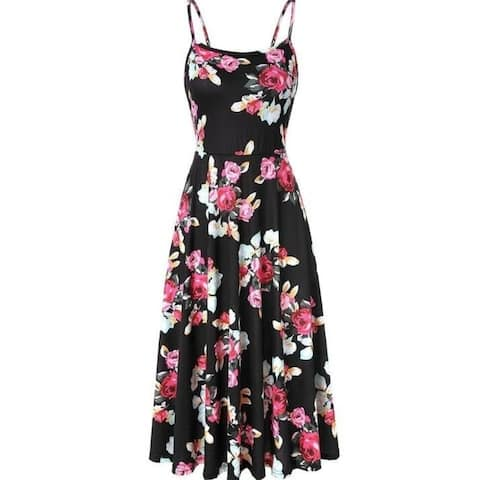 Women's Dress Sleeveless Adjustable Strappy Summer Floral Flared Swing Dress