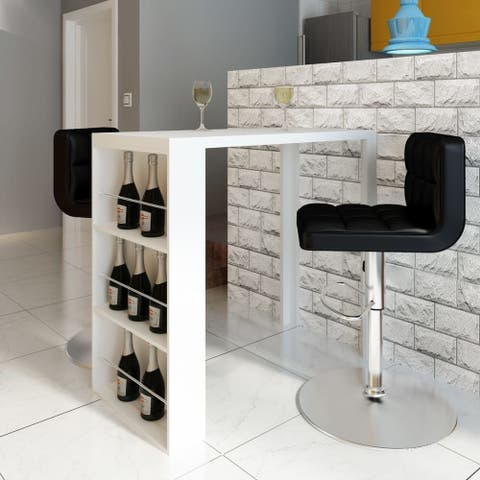 vidaXL High Gloss Table Coffee Bar Kitchen Breakfast Dining Wine Rack 3 Shelves - White