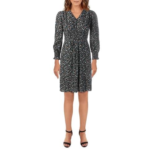 Rebecca Taylor Womens Zelma Casual Dress Silk Floral Print - Black Combo