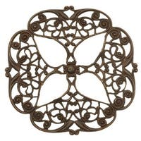 Vintaj Natural Brass Openwork Flower Filigree Stamping 47mm (1)