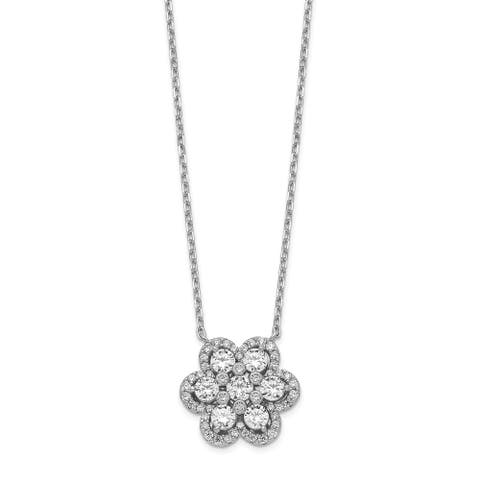 Sterling Silver Flower CZ 15.75-inch with 1-inch and 2-inch Extension Necklace by Versil