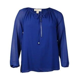 MICHAEL Michael Kors Women's Zip Front Peasant Blouse