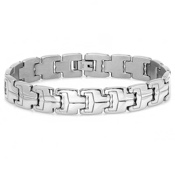 Oxford Ivy Mens Stainless Steel Patterned Link Bracelet 8 1/4 inch