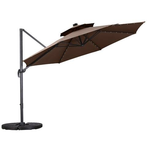Zenova 360 Rotation Patio Offset Cantilever Umbrella 10 FT UV Protection 40 LEDs