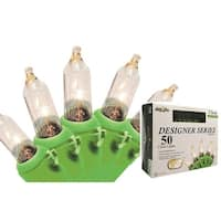 "Set of 50 Clear Mini Christmas Lights 4.25"" Spacing- Green Wire"