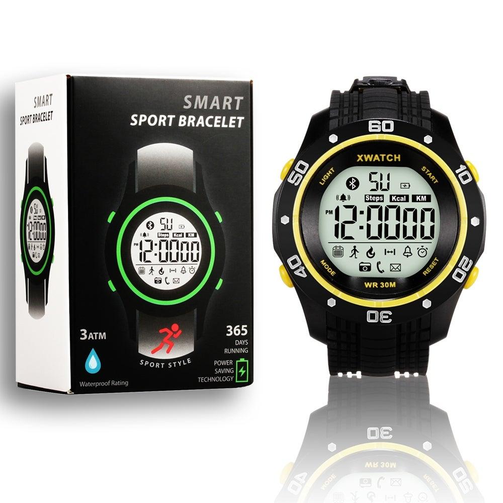 Indigi® Waterproof Bluetooth 4.0 X-Watch + Call/SMS Notification + StopWatch + Pedometer + 1 Year Battery - Thumbnail 0