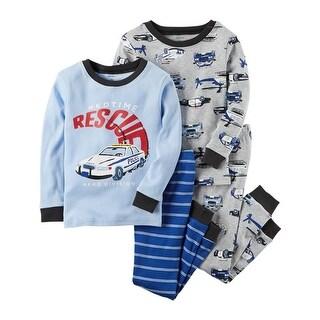 Carter's Baby Boys' 4-Piece Rescue Snug Fit Cotton PJs, 12 Months - blue rescue