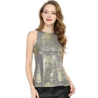 Women's Metallic Shiny Tank Top Party Club A-Line Shimmer Camisole Vest