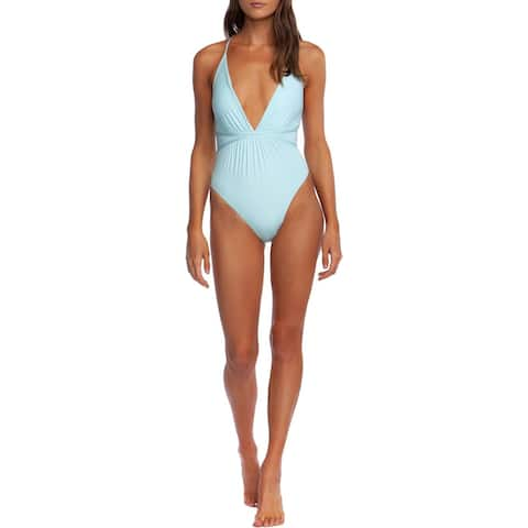 BCBG Max Azria Womens Plunge Deep V Shirred One-Piece Swimsuit - Aqua