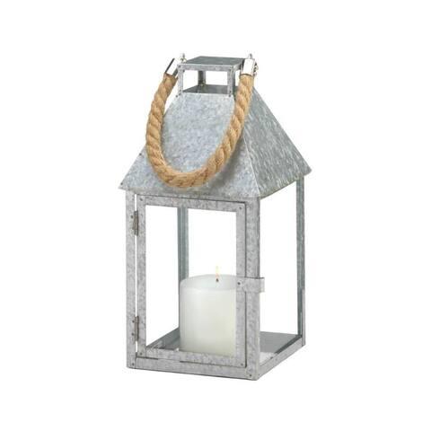 Large Galvanized Farm-Style Lantern - Grey