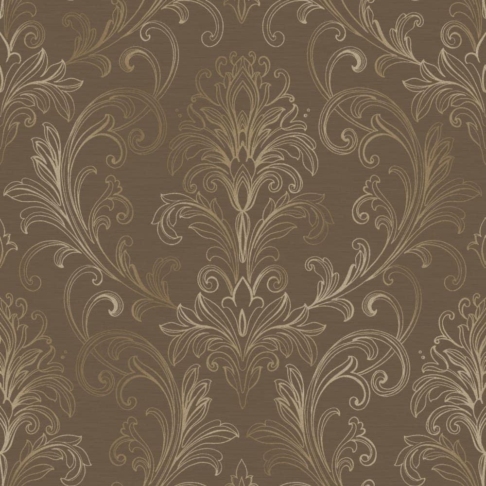 Yard BR6273 Grey Tan Metallic Mottled Damask Wallpaper