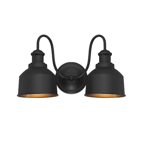 Madison Two Light Outdoor Wall Sconce Moutd Matte Black - Exact Size