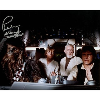 Peter Mayhew Chewbacca Luke Skywalker Obi Wan Kenobi and Han Solo Millennium Falcon 8x10 Photo