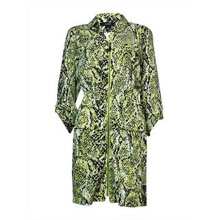 Alfani Women's Animal Print Front Zip Dress (12, Snake Lime)