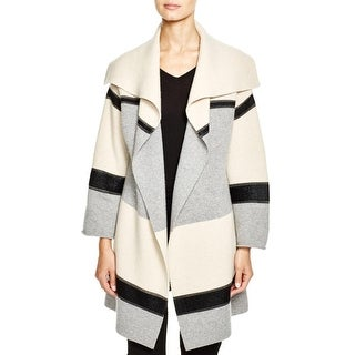 Vince Womens Basic Coat Draped Colorblocked - S