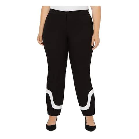 ALFANI Womens Black Color Block Straight leg Pants Size 22W