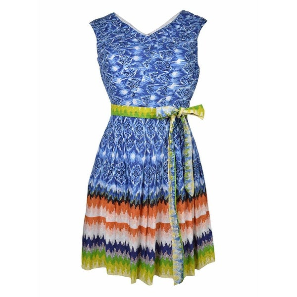 Signature Women's Belted Fit & Flare Print Dress
