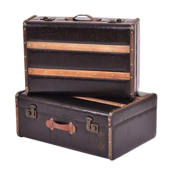 Premium Leather Suitcase Wood Antique Vintage Storage Box Case Bag Luggage Train