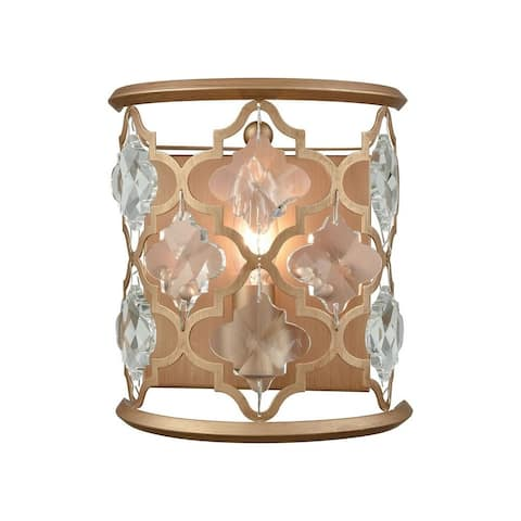 1-Light Sconce In Matte Gold With Clear Crystals With Clear Crystals Made Of Crystal Metal - Luxe