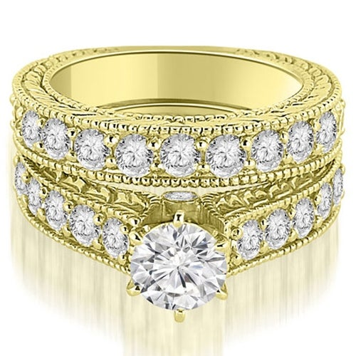3.15 cttw. 14K Yellow Gold Antique Cathedral Round Cut Diamond Engagement Set