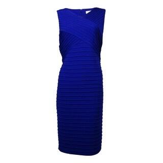 Calvin Klein Women's V-Neck Pintucked Jersey Sheath Dress - 12
