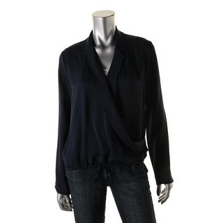 Theory Womens Ilori B Pullover Top Silk Notched Lapel