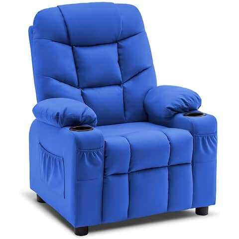 Mcombo Big Kids Recliner Chair with Cup Holders for Boys and Girls Room, 2 Side Pockets, 3+ Age Group, Faux Leather 7366