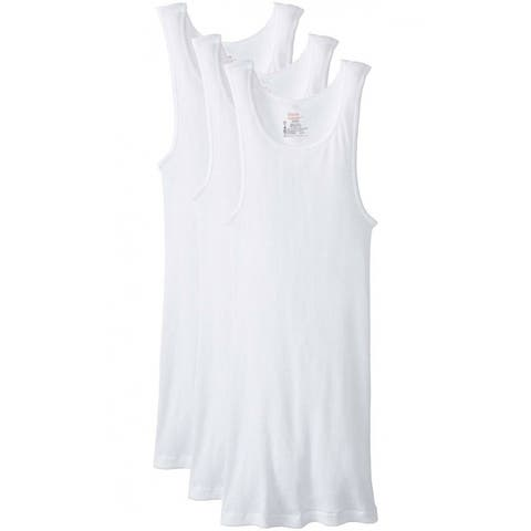 Hanes 372-2XL Men's Tagless ComfortSoft Tank Top A-Shirts, White, 2XL, 3-Pack