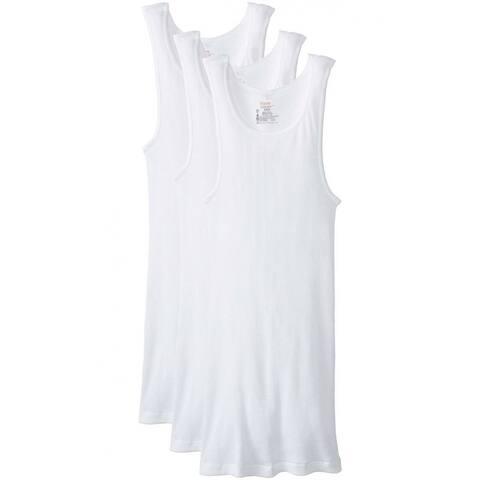 Hanes 372-XL Men's Tagless ComfortSoft Tank Top A-Shirts, White, XL, 3-Pack