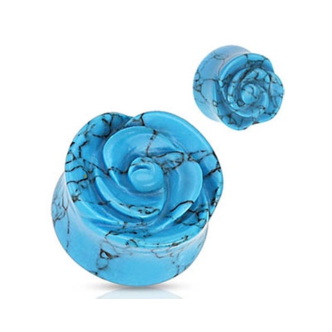 Blue Turquoise Semi Precious Stone Rose Carved on Single Side Double Flared Plug (Sold Individually)
