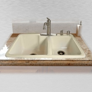 "Miseno MCI34-4TM 33"" Double Basin Drop In Cast Iron Kitchen Sink"