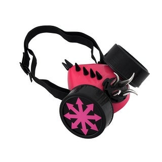 Fluorescent Pink Chaos Cyberpunk Respirator Mask with Black Accents/Spikes