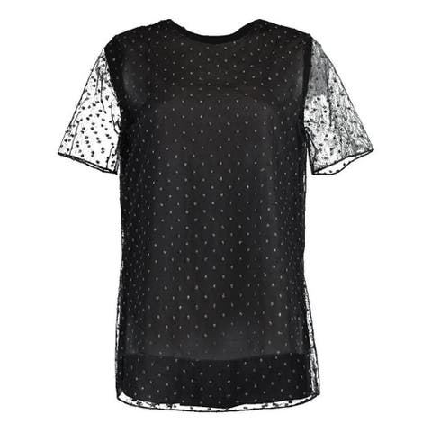 Adam Lippes Womens Black Short Sleeve Jewel Neck Evening Top Size 4