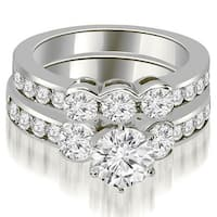 2.50 cttw. 14K White Gold Bezel Set Round Cut Diamond Engagement Set - White H-I