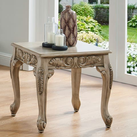 Furniture of America Drew Traditional White Carved End Table