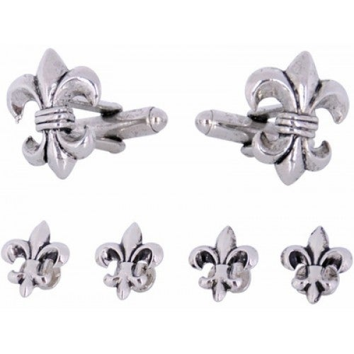 Fleur De Lis Cufflinks And Studs In Antique Silver French