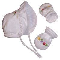 NICE CAPS Baby Girl Sherpa Lined Soft Velboa Bonnet Set With Embroidery - White